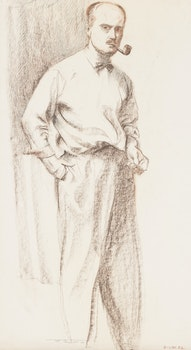 Artwork by Frederick Bourchier Taylor, Study of a Model, London, England; Self Portrait
