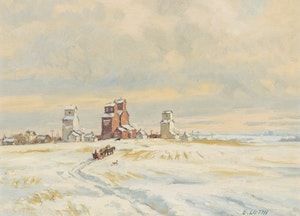 Artwork by Ernest Luthi, Prairies Winter Sleighing Scene