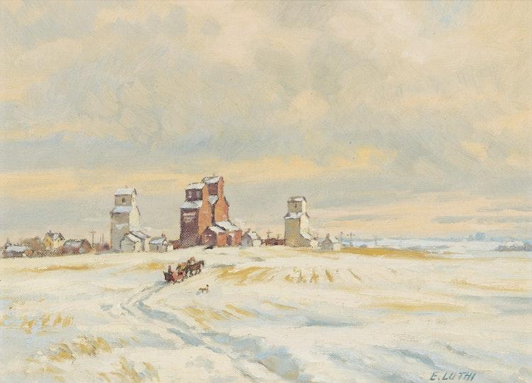Artwork by Ernest Luthi,  Prairies Winter Sleighing Scene