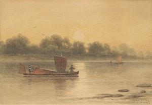 Artwork by Frederick Arthur Verner, Sailboats on the River