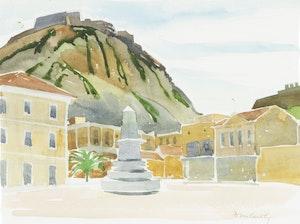 Artwork by Doris Jean McCarthy, Acropois at Nauplia