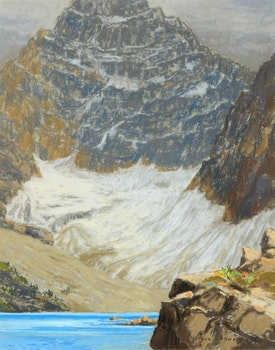 Artwork by Horace Champagne, Mt. Biddle in Steptember, with Lake McArthur (Yoho National Park, B.C.)