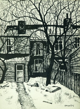 Artwork by John Kasyn, Behind Dovercourt Road