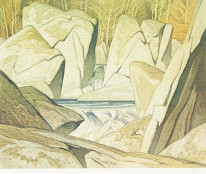 Artwork by Alfred Joseph Casson, Late Flurry; Morning on the Key River; Rock Cluster, Madawaska River, 1963