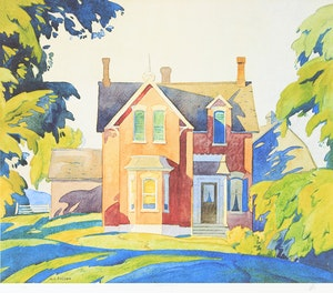 Artwork by Alfred Joseph Casson, Old House on Bayview; Grey October Morning; Birch Island