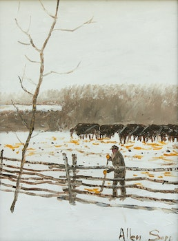 Artwork by Allen Sapp, Dad Cleaning the Corral