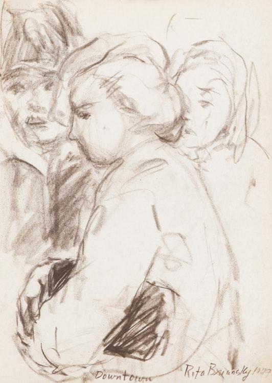 Artwork by Rita Briansky,  Self Portrait; My Mother; Chess Players; The Poet Ida Massey;  Joseph; Downtown