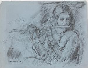 Artwork by Gentile Tondino, Girl Playing Flute; Bathing