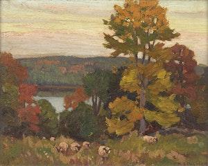 Artwork by Herbert Sidney Palmer, Evening by Mountain Lake, Haliburton