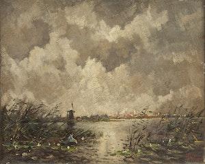 Artwork by Adrian Nicholaas Visser, Dutch Landscape