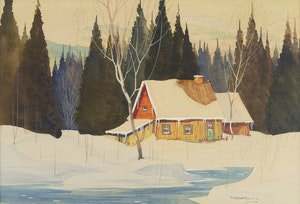 Artwork by Graham Noble Norwell, Cottage in Winter