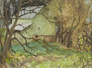 Artwork by George Franklin Arbuckle, Green Barn, Hawkesville, Ontario