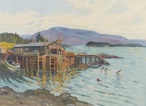 Artwork by Bernice Fenwick Martin, Maine Coastal Fishing Cove