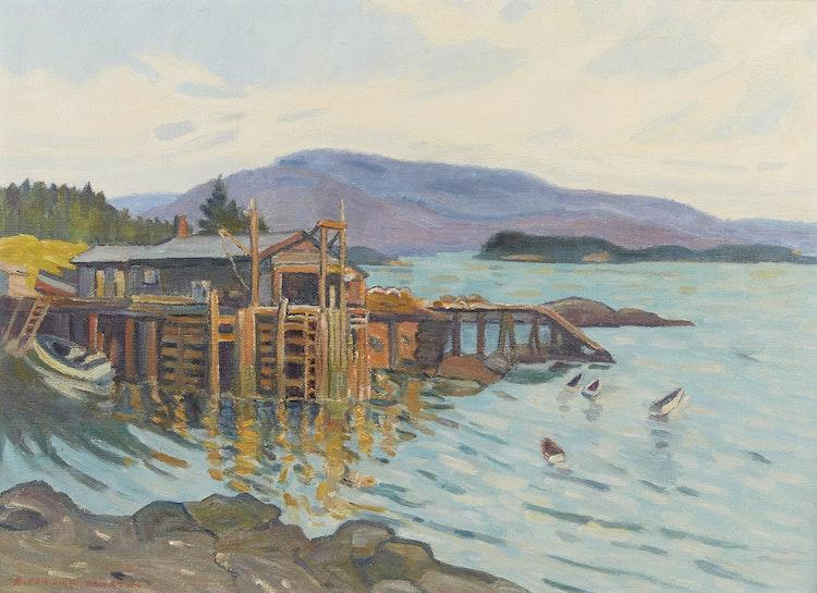 Artwork by Bernice Fenwick Martin,  Maine Coastal Fishing Cove