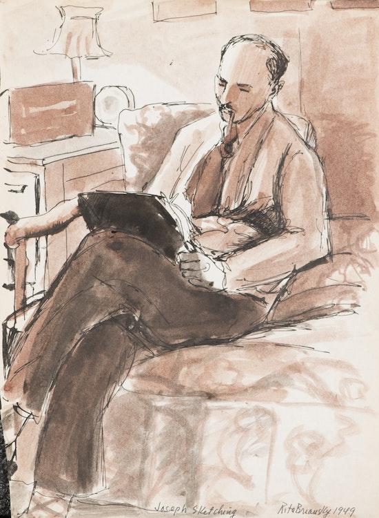 Artwork by Rita Briansky,  Joseph Sketching; Shoppers; Checkers; The Field