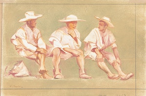 Artwork by Frederick Bourchier Taylor, Indians in the Market; Three Men Chatting/Landscape
