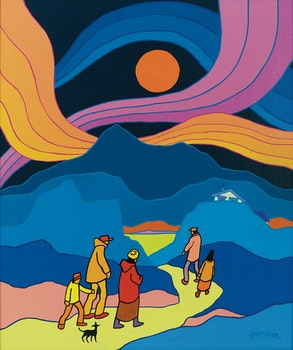 Artwork by Ted Harrison, Family Outing