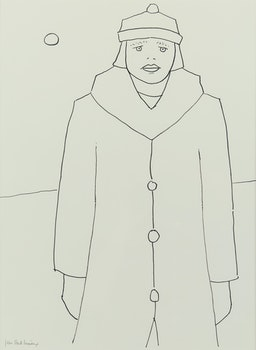 Artwork by Jean Paul Lemieux, Jeune fille au long manteau
