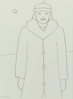 Artwork by Jean Paul Lemieux, Jeune fille au long manteau
