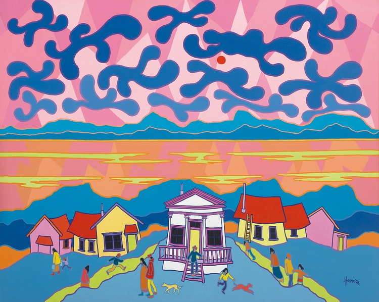 Artwork by Ted Harrison,  The Grecian House (Dawson City)