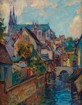 Artwork by Frank Milton Armington, Vue de Chartres