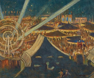 Artwork by Peter Clapham Sheppard, Fair For Britain (Night Scene, Riverdale Park, Toronto, 1942-43)