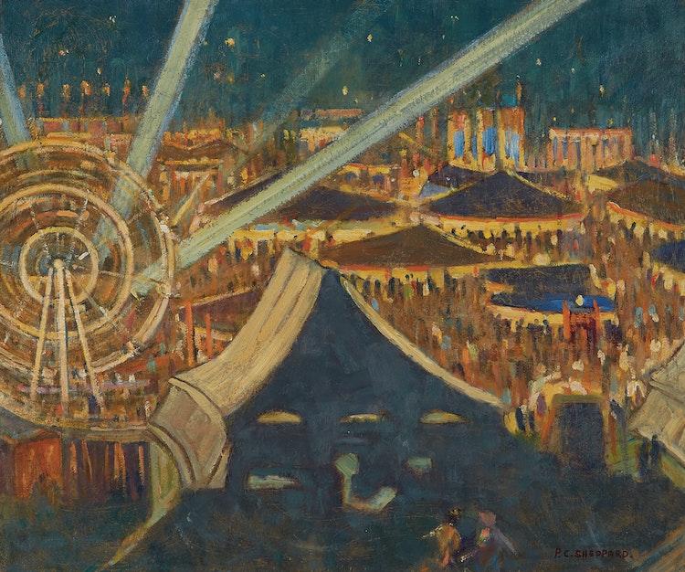 Artwork by Peter Clapham Sheppard,  Fair For Britain (Night Scene, Riverdale Park, Toronto, 1942-43)