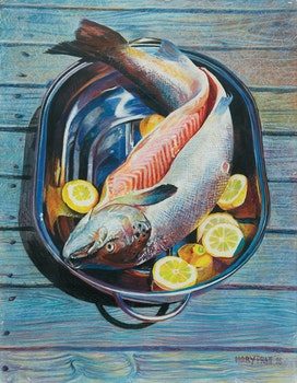 Artwork by Mary Pratt, Salmon in a Pan