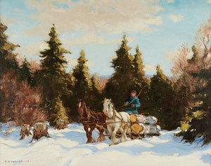 Artwork by Frederick Simpson Coburn, A Team of Horses Hauling Logs