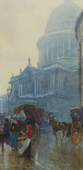 Artwork by Frederic Marlett Bell-Smith, St. Paul's, A Rainy Day in London (The Orange Seller)