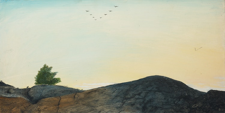Artwork by William Kurelek,  Geese Flying South, Coniston, Ontario