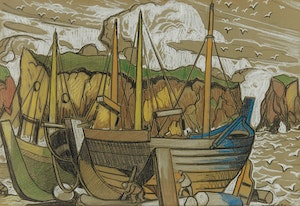 Artwork by Marc-Aurèle Fortin, Études Barques, Gaspésie