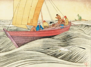 Artwork by Walter Joseph Phillips, York Boat on Lake Winnipeg