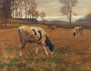 Artwork by Herbert Sidney Palmer, Cattle Grazing