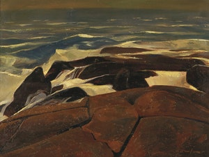 Artwork by Charles Fraser Comfort, The Mighty Main, Yarmouth, N.S.