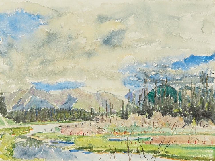 Artwork by Dorothy Elsie Knowles,  The Vermillion Lakes