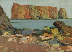 Artwork by Stanley Royle, Percé Rock, Grey Morning