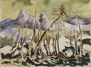 Artwork by Alexander Samuel Millar, Burnt Spruces in the Mountains; Thistle