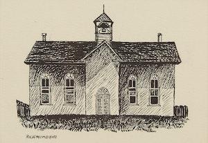 Artwork by Michael French, Richmond Hill; School House; Rural Church