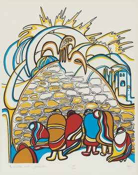 Artwork by Daphne Odjig, Western Wall, Jerusalem