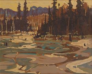 Artwork by Tom Thomson, Portage Ragged Lake; Aura Lee Lake