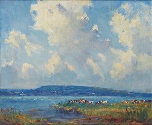 Artwork by Manly Edward MacDonald, Cattle at the Bay of Quinte