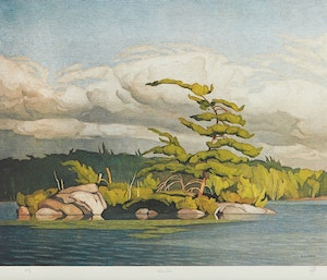 Artwork by Alfred Joseph Casson, Moose Lake; Annables General Store; Morning on the Key River