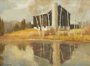 Artwork by Thomas Keith Roberts, Barn Near the Pond