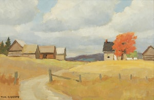 Artwork by Thomas Keith Roberts, Farm with Red Maple