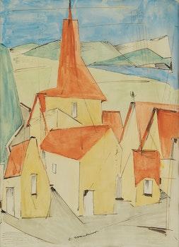Artwork by Fritz Brandtner, Village