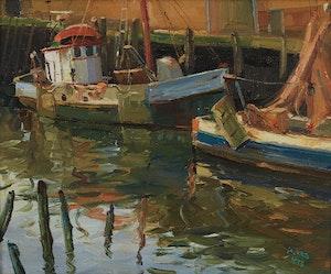 Artwork by Francesco Iacurto, Harbour Scene