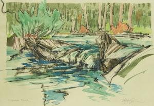 Artwork by Edward W. (Ted) Godwin, Highwood River