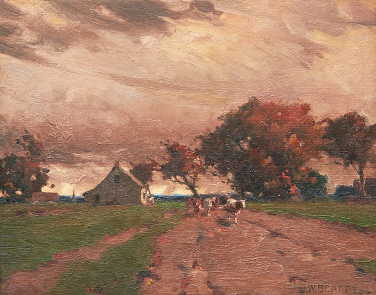 Artwork by John William Beatty,  Wandering Cattle