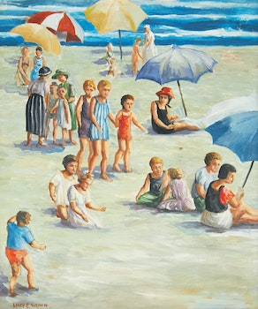 Artwork by Mary Evelyn Wrinch, Beach Scene with Children